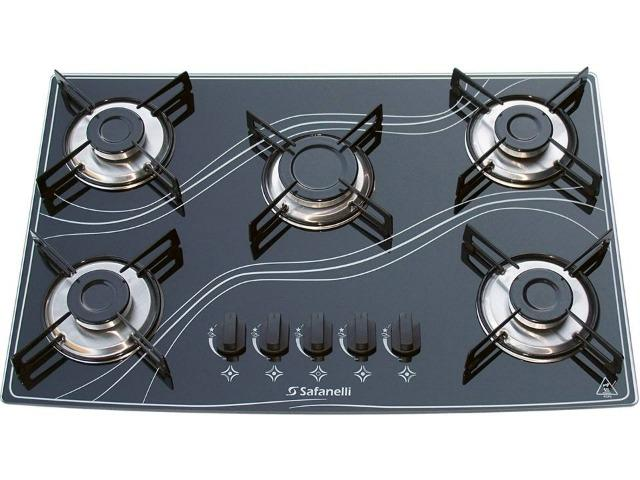 Cooktop 5 Bocas Safanelli 5Q à Gás Natural e GLP - Acendimento Superautomático Bivolt