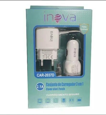 Carregador Celular Inova V8 Rápido + Veicular 2.1a Original - Foto 2