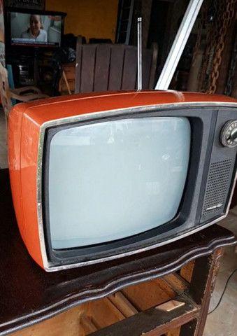 Antiga tv Philco Ford década 70 laranja vermelha original - Foto 5