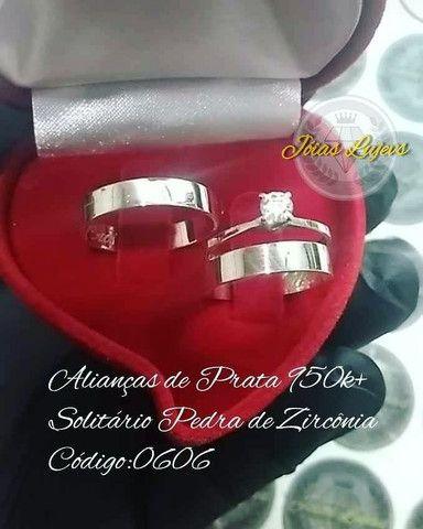 Promoção alianças de prata 950 mais anel solitário