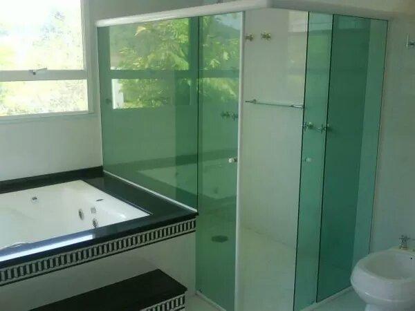 Box em vidro temperado incolor verde fumê para pronta entrega - Foto 3