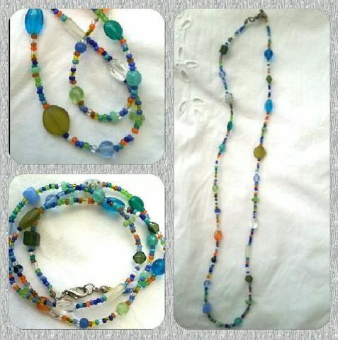 Pulseira/colar de pedrinhas coloridas - Foto 3