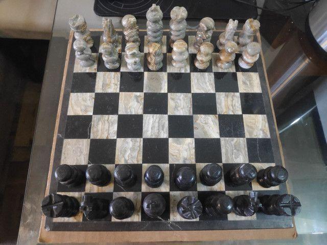 Jogo de xadrez em pedra artesanal Made in México