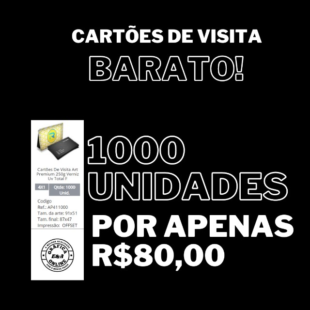 Cartões de Visita 1000und 4x1 + Arte Grátis