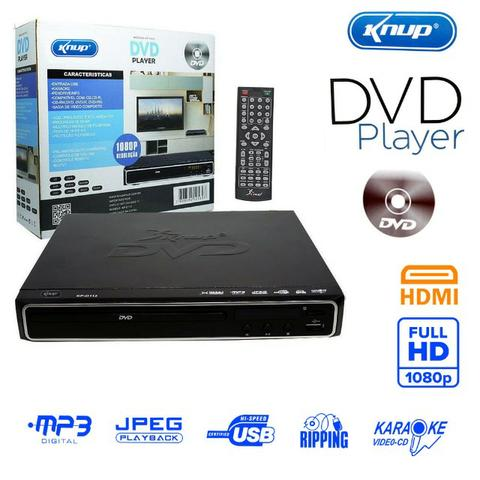 Dvd Player KP-D112 Knup com função Karaokê Saída Hdmi Usb Ripping Mp3 Compacto