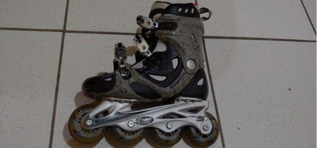 Patins Traxart Xtart In1000 Grey + Kit Protetores Lazer - Foto 6