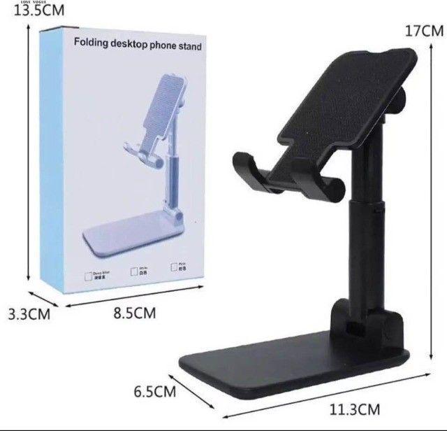 Suporte Para Celular E Tablet Dobrável Ajustável Apoio Mesa - Foto 3
