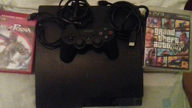 Playstation 3 travado super slim+1 controle +jogos