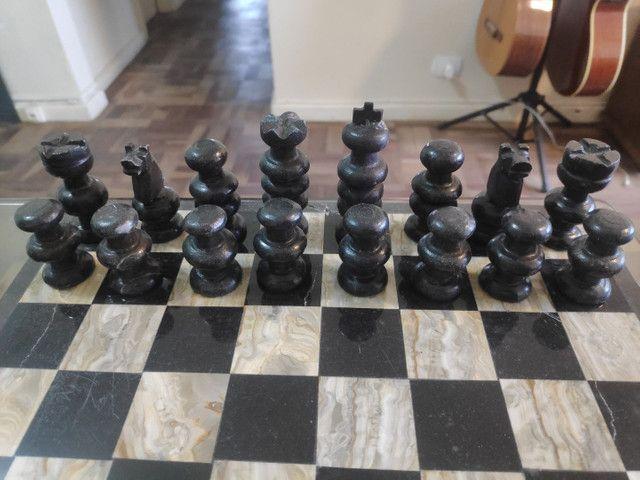 Jogo de xadrez em pedra artesanal Made in México  - Foto 3