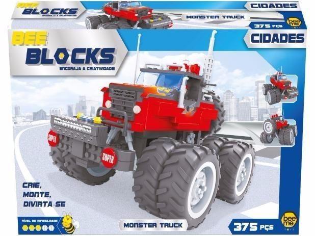 Blocos de Montar 375 Peças Bee Blocks - Compativel LEGO - Monster Truck - Bee Me Toys