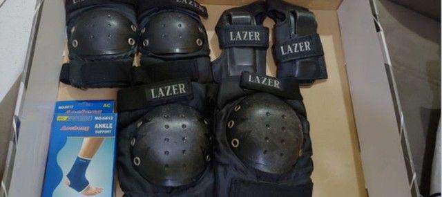 Patins Traxart Xtart In1000 Grey + Kit Protetores Lazer - Foto 4