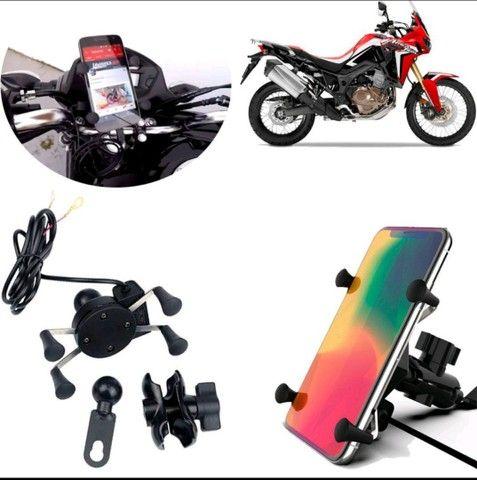 Suporte Carregador Celular Gps Moto /Fixa Retrovisor / Guidom - Foto 5