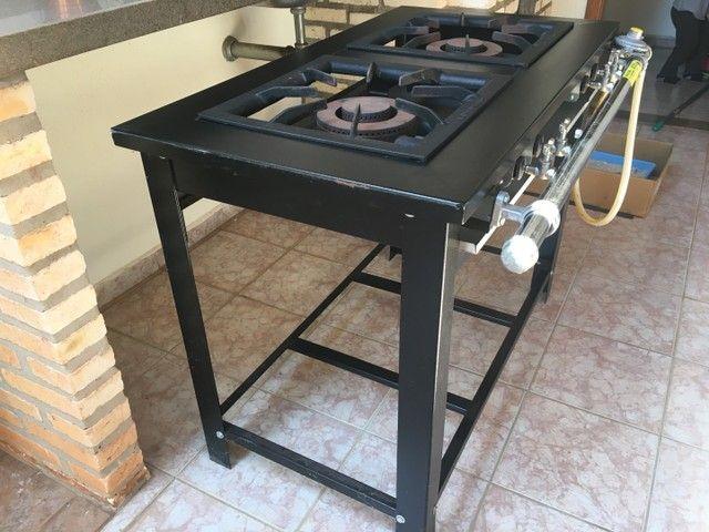 Fogão Industrial Maxi Pintado 2 Bocas Duplas Pé/mesa M2pd2 - Foto 5