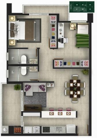 Apartamento Glória, Suíte + um quarto. Churrasqueira na Sacada