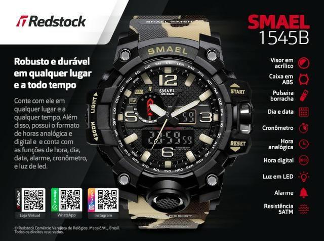 6f418797b9e Relógio Smael® 1545B Militar - Camuflado   3x Sem Juros e Frete Grátis