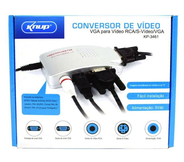 Adaptador Conversor VGA (PC) para RCA (AV) KP - 3461 - Foto 3