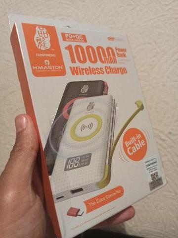 portátil wireless charge 10000mah novo com garantia