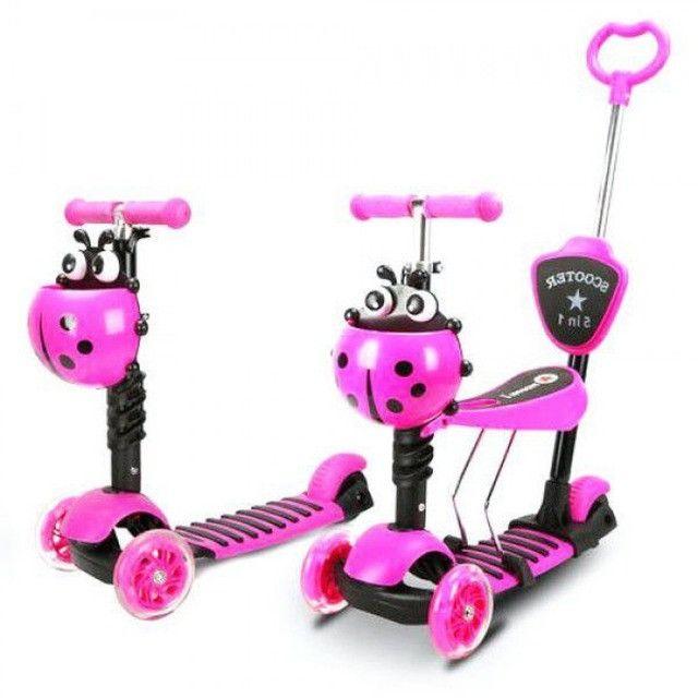 Patinete Infantil 3 Rodas 3x1 Scooter Cadeirinha Assento Empurrador Triciclo