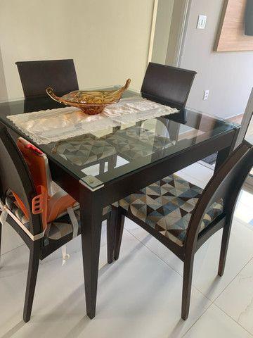 Mesa de jantar com tampo de vidro 1,10x1,10 (LINDA) - Foto 3