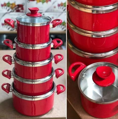 Conjunto De Panelas Em Aluminio Coloridas Vermelha 5 Peças( Várias cores )