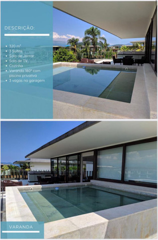 Belíssima cobertura de 5 qts com 320 m2 em Angra dos Reis, Frade