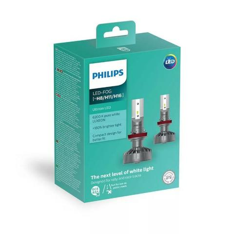 Par Lâmpada Philips Led Fog Ultinon 6200k H8 H11 H16 +160% - Foto 2