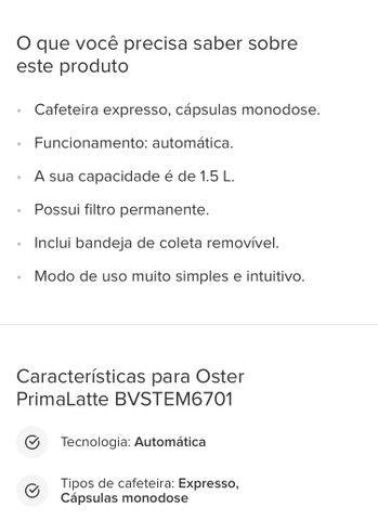 Cafeteira Oster PrimaLatte automática aço inoxidável e preta para expresso e cápsulas - Foto 4