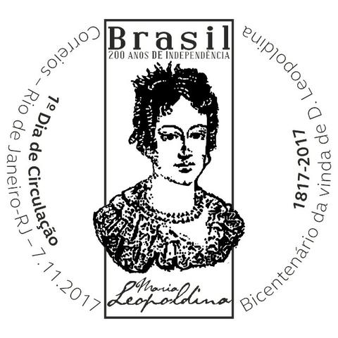 Selo serie 200 anos de independência:bicentenario da vinda de d.leopoldina mais edital