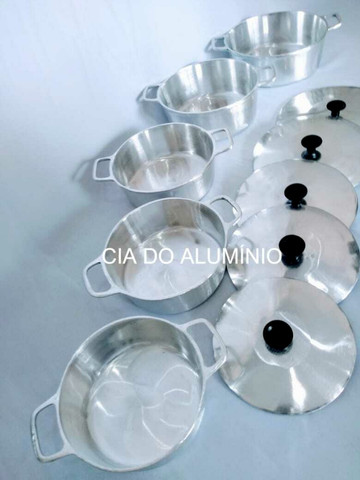 Jogo 5 panelas de alumínio batido e polido - Foto 3