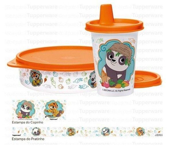 Tupperware Kit Copinho Com Bico 200 Ml + Tupper Pratinho 500 Ml Kung Fu Panda Kit Infantil - Foto 2