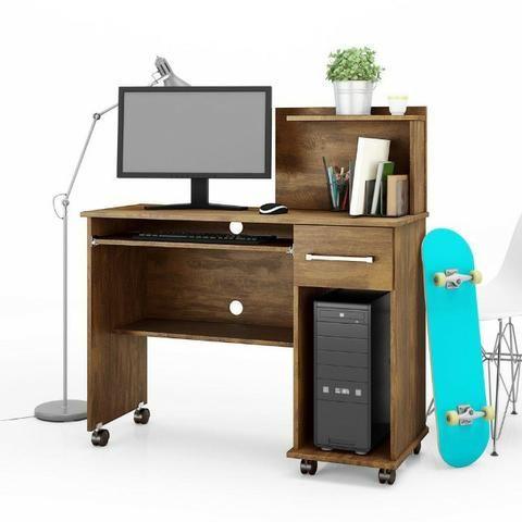 Mesa Computador Office Studio Rodizios Lukaliam - Foto 2