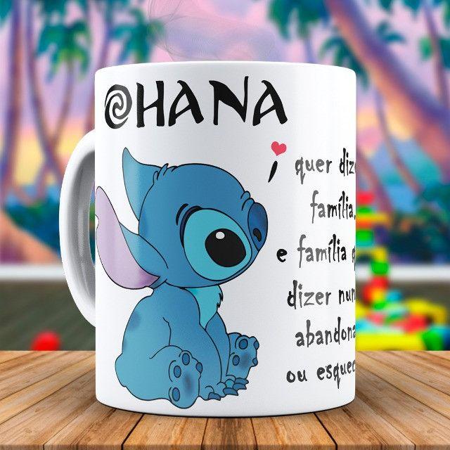 Ohana Caneca Stitch Personalizada Com o Nome da Pessoa Amada