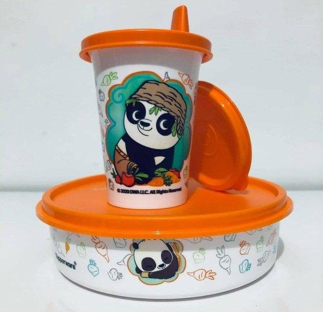 Tupperware Kit Copinho Com Bico 200 Ml + Tupper Pratinho 500 Ml Kung Fu Panda Kit Infantil