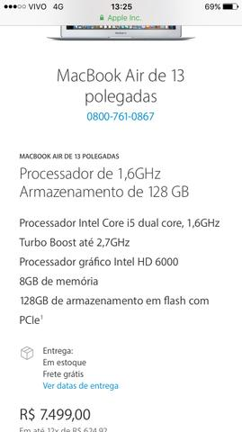 MacBook Air! Zero na caixa com nota!