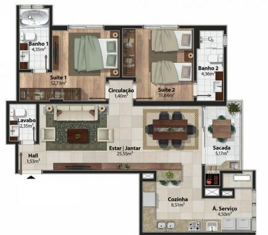 Apartamento 2 Suítes 97 M².Sacada com Churrasqueira, Lavabo, 1 Vaga no Centro - Foto 19