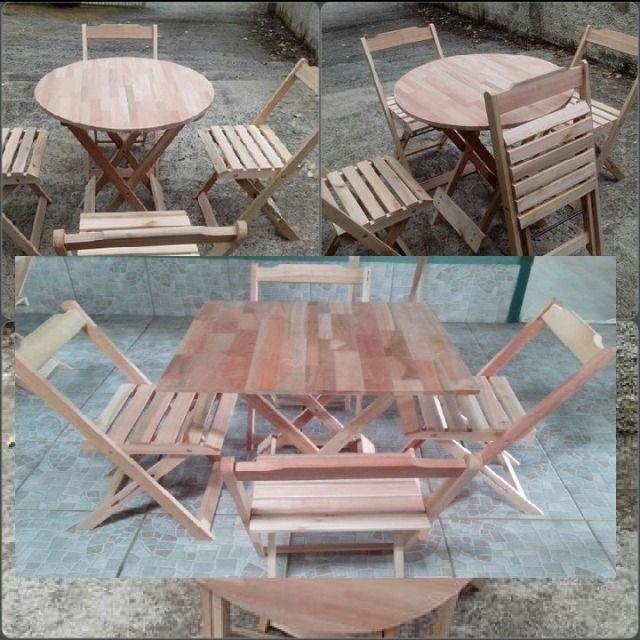Mesa e cadeiras dobrável - Tampo em madeira maciça - Foto 4