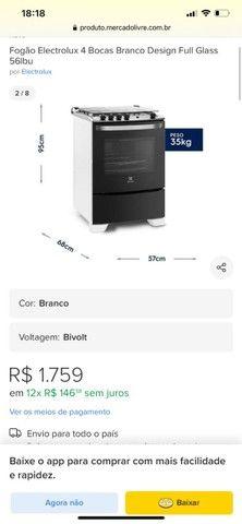 Aceito propostas: Fogão Electrolux 4 bocas automático branco