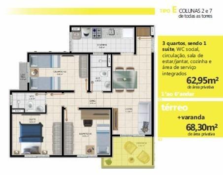 Apartamentos de 2 e 3/4, suíte, varanda, elevador, px:UFS