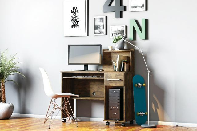 Mesa Computador Office Studio Rodizios Lukaliam - Foto 5