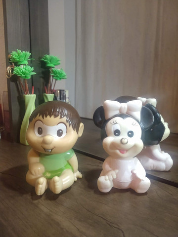 Bonecos vinil vintage Miney e Chico Bento