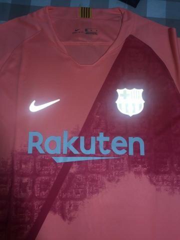 59a2e82ae9b7a Camisa Barcelona Away Rosa Refletiva 18 19 Torcedor Nike Masculina NOVO