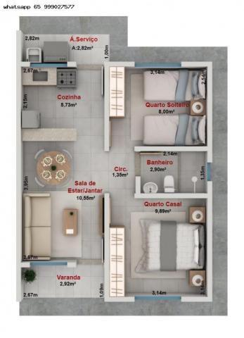 Casa para Venda em Várzea Grande, Paiaguas, 2 dormitórios, 1 banheiro, 2 vagas - Foto 14