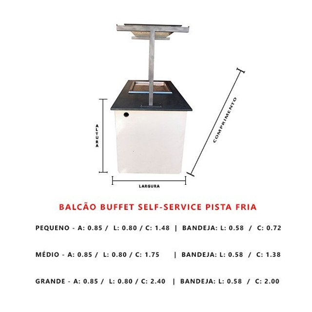 Kit 3 Balcões Buffef Self-Service - Pista Fria - Usados - Foto 3