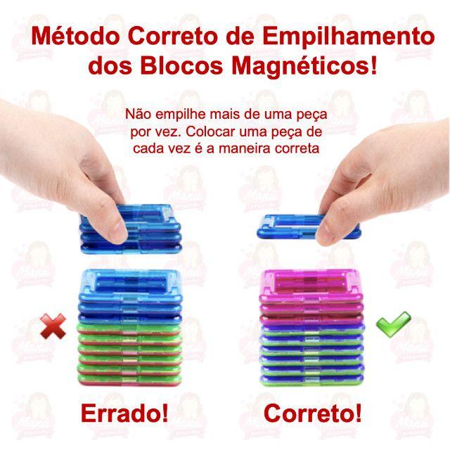 Blocos Magnéticos com 24 peças   Triângulos, quadrados e rodinhas - Foto 4