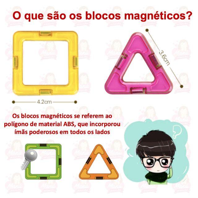 Blocos Magnéticos com 24 peças   Triângulos, quadrados e rodinhas - Foto 3