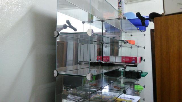 Estante De Vidro Temperado : Balcão estante gôndola prateleira de vidro temperado fundo espelhado