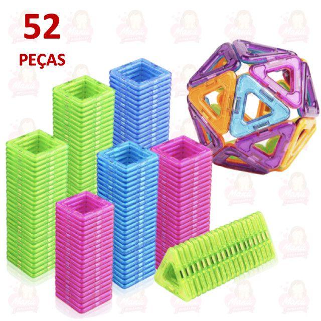 Blocos Magnéticos 52 peças completo com triângulos e quadrados - Foto 3