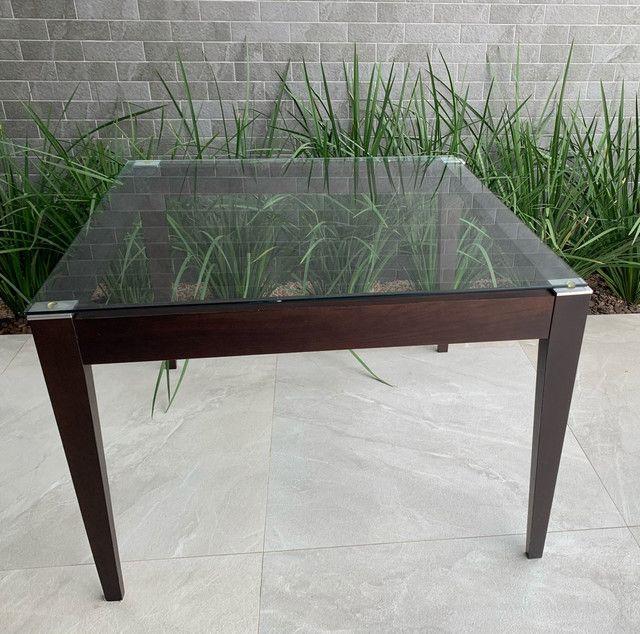 Mesa de jantar com tampo de vidro 1,10x1,10 (LINDA) - Foto 5