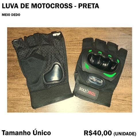 Luva de Ciclismo Bike Motocross Meio Dedo Preta com Proteção