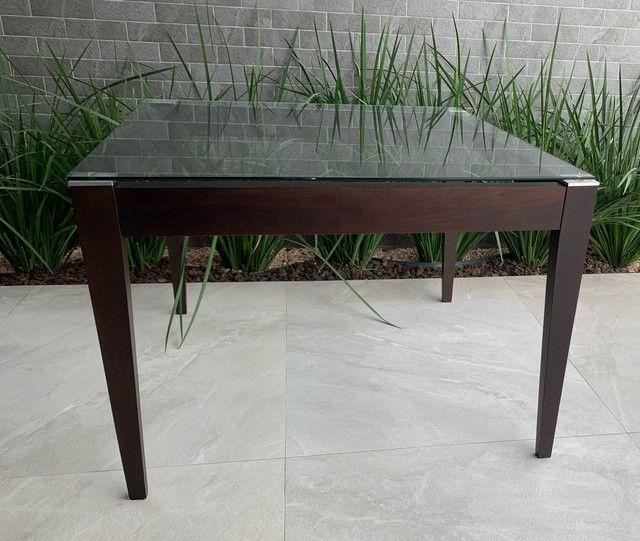 Mesa de jantar com tampo de vidro 1,10x1,10 (LINDA) - Foto 4